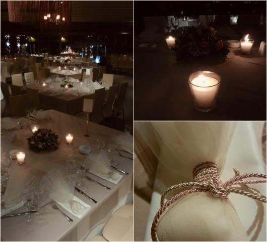 Λεπτομέρειες από τη διακόσμηση των τραπεζιών στη δεξίωση γάμου βάπτισης στο Anais club