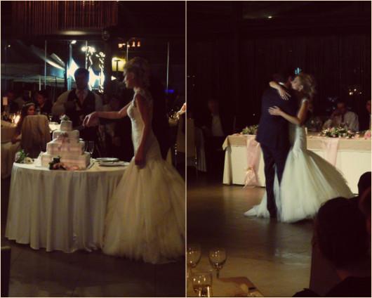 Στιγμιότυπα της κοπής της γαμήλιας τούρτας και του πρώτου χορού του ζευγαριού