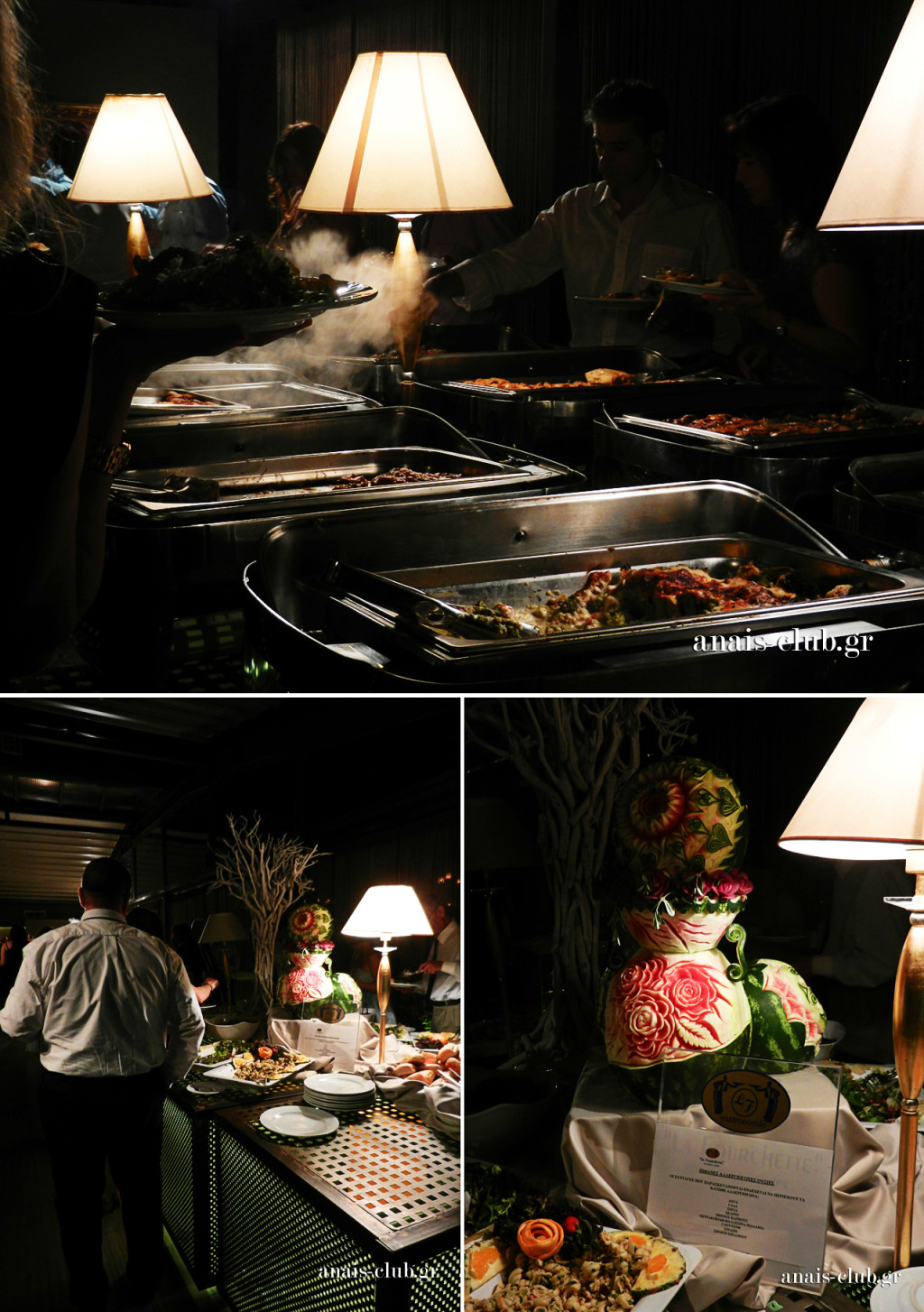 Στιγμιότυπα από το σερβίρισμα των καλεσμένων στους πλούσιους σε γεύσεις, αρώματα και δημιουργικότητα, μπουφέδες του Anais Club