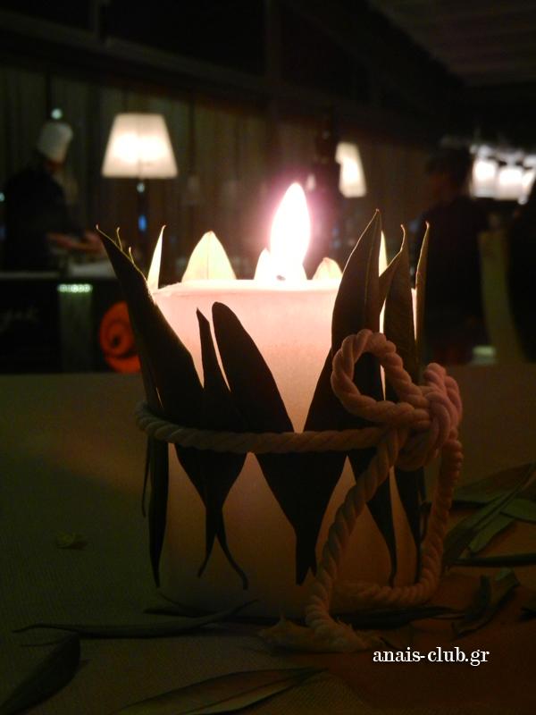 Χειροποίητο διακοσμητικό με κερί και φύλλα ελιάς