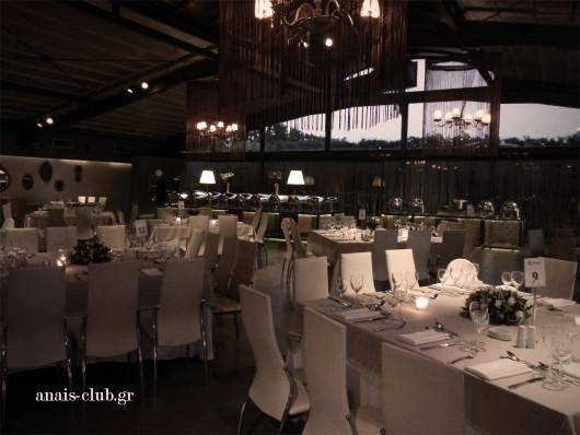 Άποψη του set up της αίθουσας στο Anais club για την δεξίωση γάμου